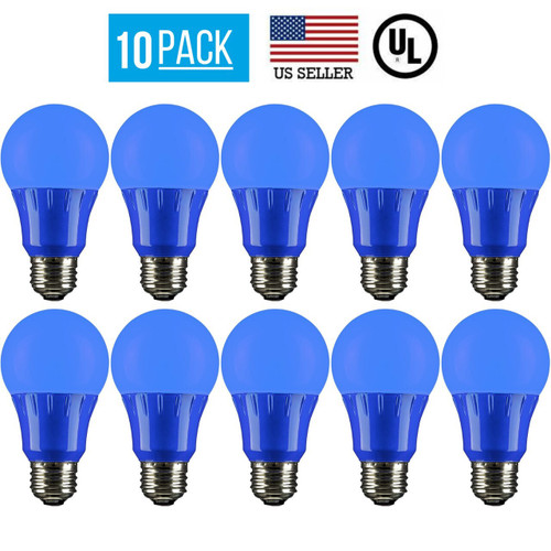 10 PACK 3W LED A19 COLORED LIGHT BULB, NON-DIMMABLE, E26 MEDIUM BASE, BLUE