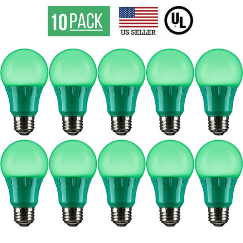 10 PACK 3W LED A19 COLORED LIGHT BULB, NON-DIMMABLE, E26 MEDIUM BASE, GREEN