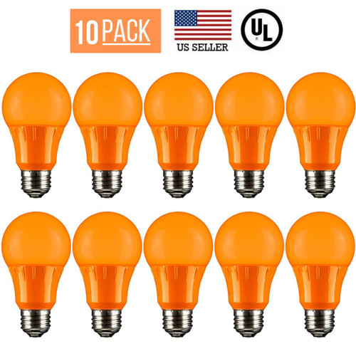 10 PACK 3W LED A19 COLORED LIGHT BULB, NON-DIMMABLE, E26 MEDIUM BASE, ORANGE