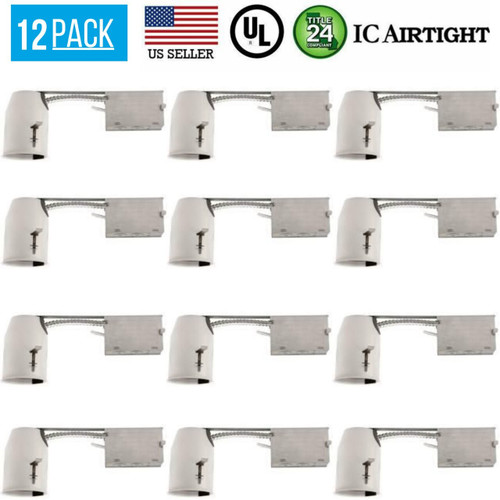 12 PACK 3-INCH REMODEL CAN AIR TIGHT IC UL RECESSED HOUSING LED POT LIGHTING