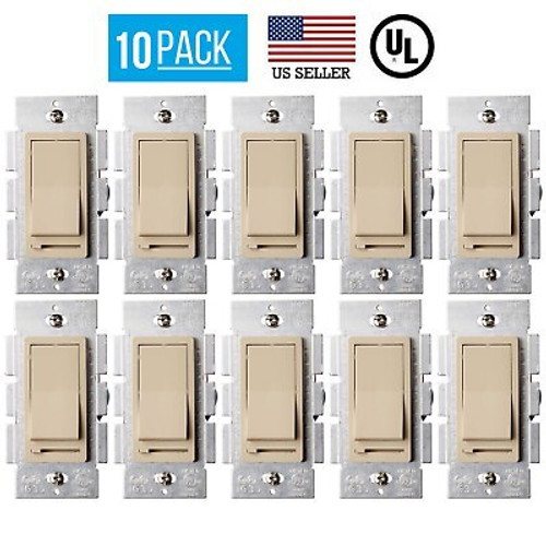 10 PACK LED DECORA DIMMER SWITCH, SINGLE POLE, 3-WAY DIMMER, LED/CFL BULBS IVORY