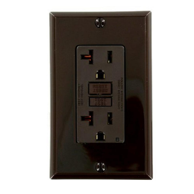 20 Amp Receptacle - GFCI Outlet - Brown - Wall Plate Included