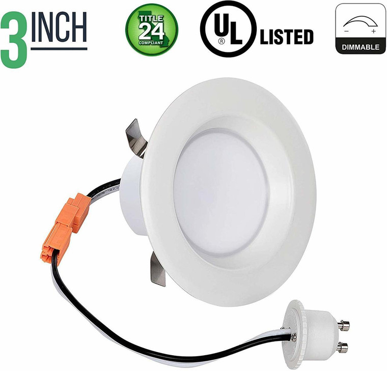 3 Inch Retrofit LED Downlight - 8 Watt - 50 Watt Incandescent Equal - Dimmable - Warm White - Integrated Smooth Trim - 120V - Title 24 Compliant - 550 Lumens