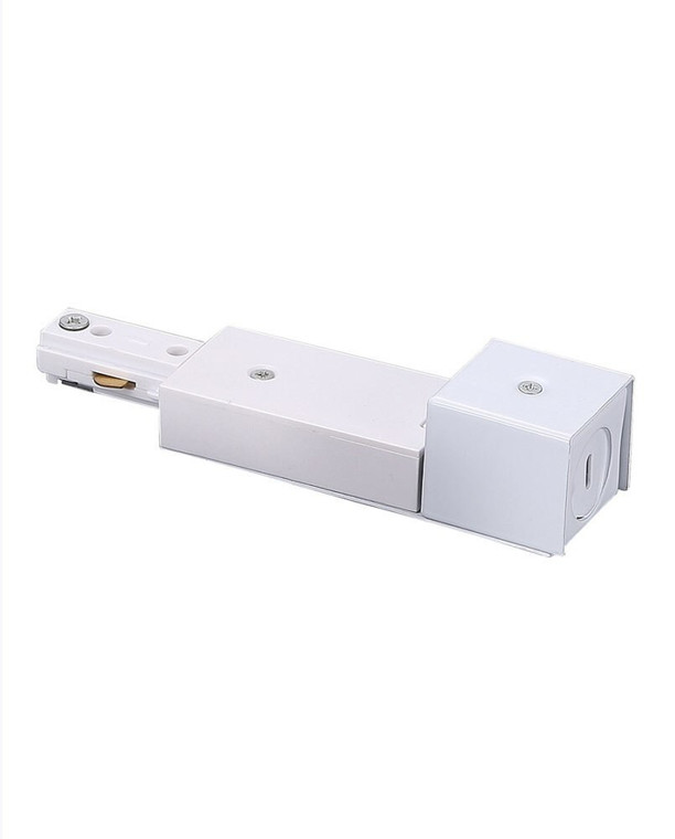 Track Light Live End Connector for Conduit Box, White