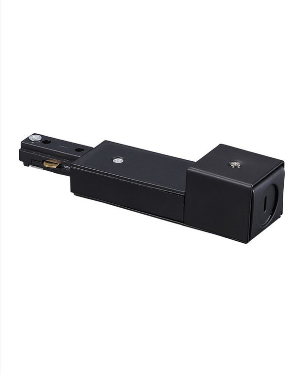 Track Light Live End Connector for Conduit Box, Black