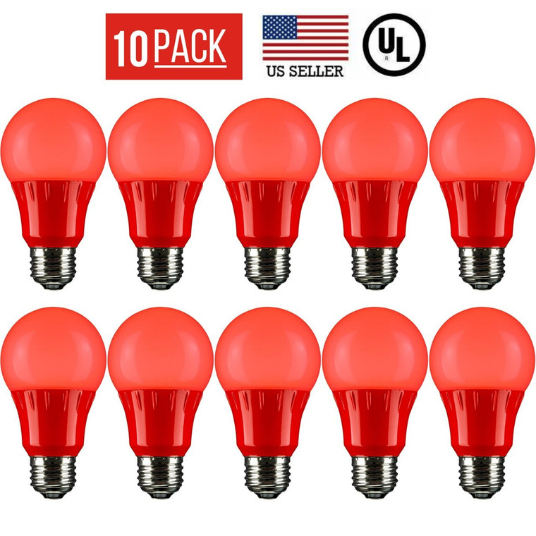 10 PACK 3W LED A19 COLORED LIGHT BULB, NON-DIMMABLE, E26 MEDIUM BASE, RED