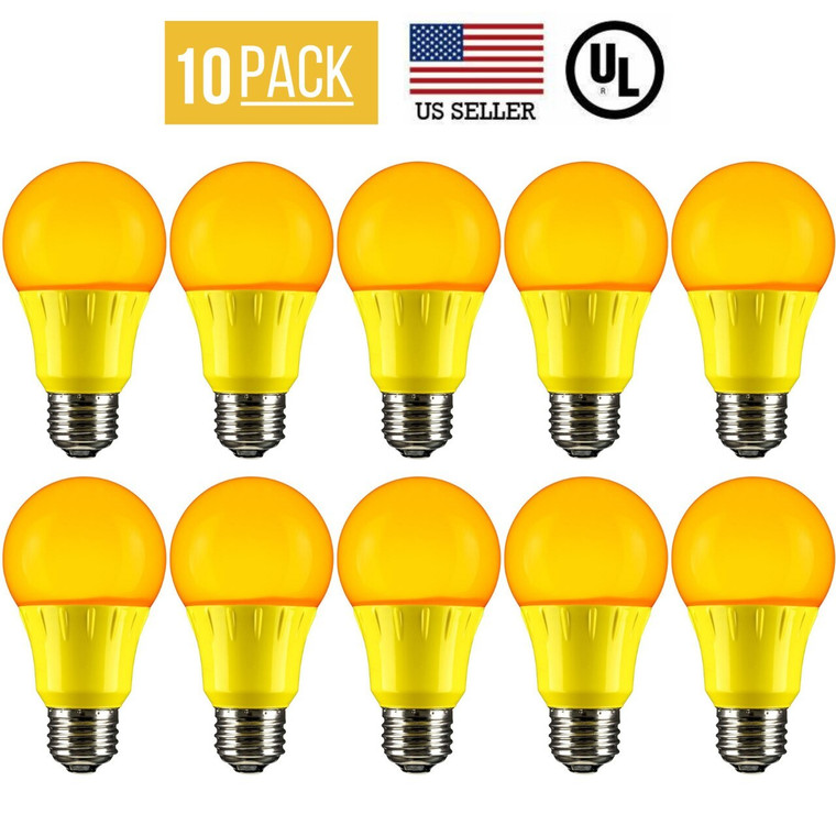 10 PACK 3W LED A19 COLORED LIGHT BULB, NON-DIMMABLE, E26 MEDIUM BASE, YELLOW