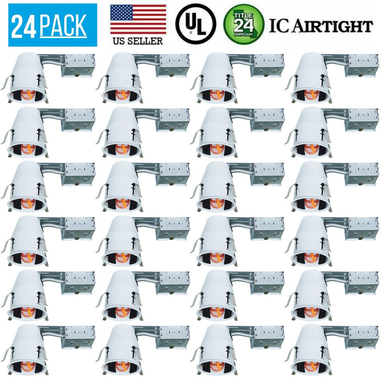 24 PACK 4-INCH REMODEL CAN AIR TIGHT IC UL RECESSED HOUSING LED POT LIGHTING