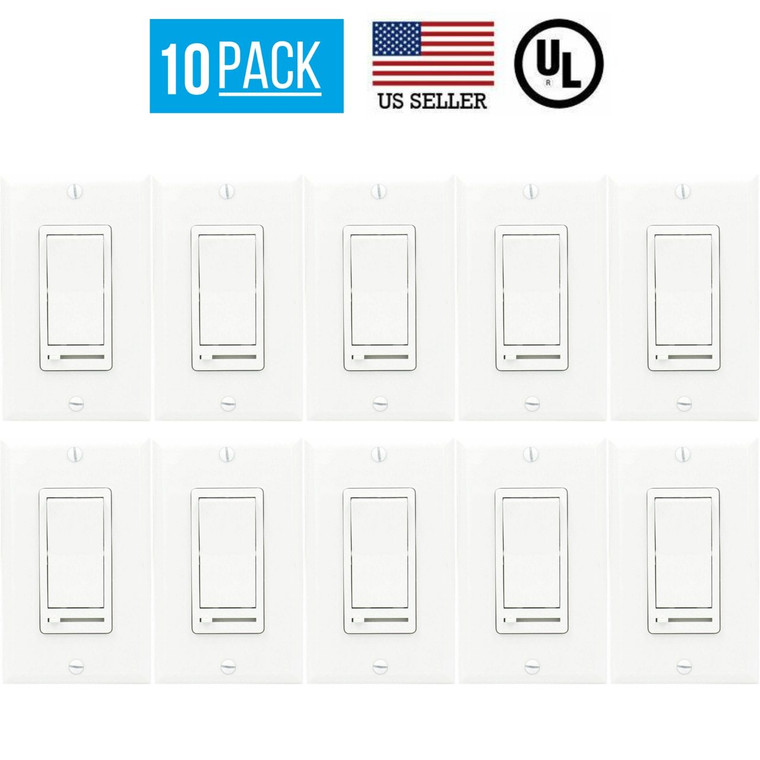 10 PACK LED DECORA DIMMER SWITCH, SINGLE POLE, 3-WAY DIMMER, LED/CFL BULBS WHITE