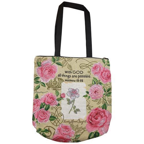 With God (Roses) Woven Tote Bag