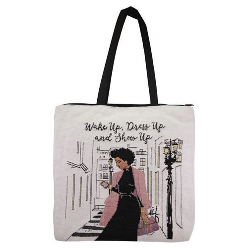 Wake Up Dress Up Show Up Woven Tote Bag