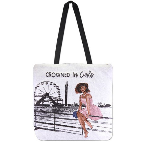 Crowned in Curls Woven Tote-bag