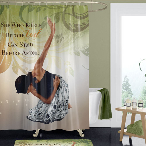 She Who Kneels Shower Curtain
