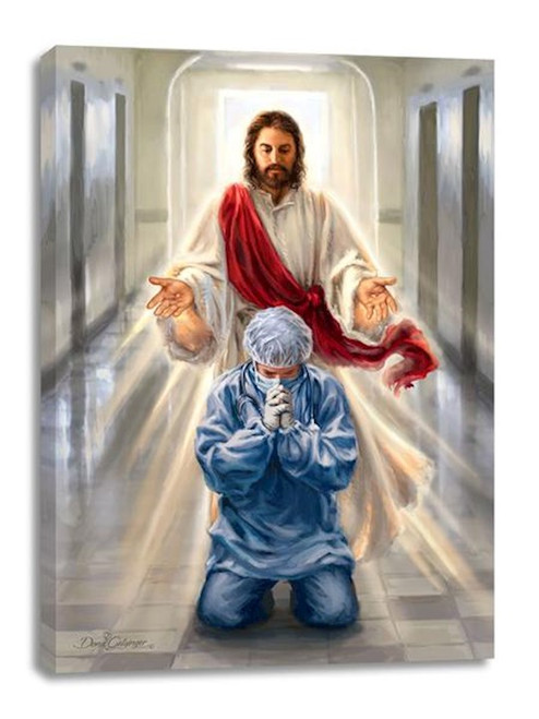 Frameless Canvas-Merciful Jesus/Bless Our Health Care Workers (18 x 24)