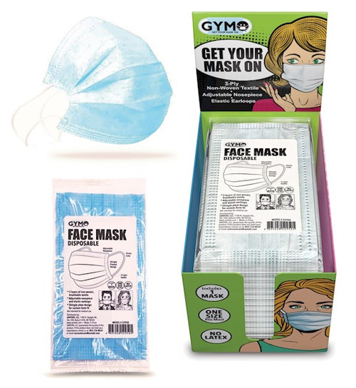 Disposable Face Masks w/Display (Pack Of 50) (Pkg-50)