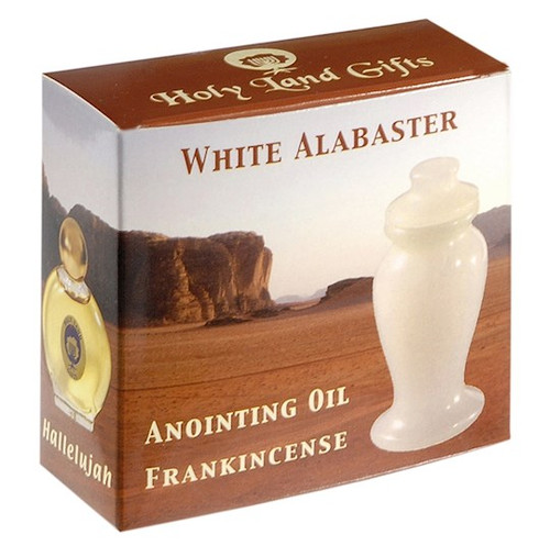 """Anointing Oil-Frankincense W/3"""" White Alabaster Flask-1/2 oz"""