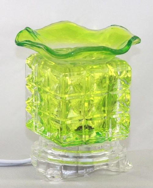 Cube Glass Electric Oil Burner -  Green