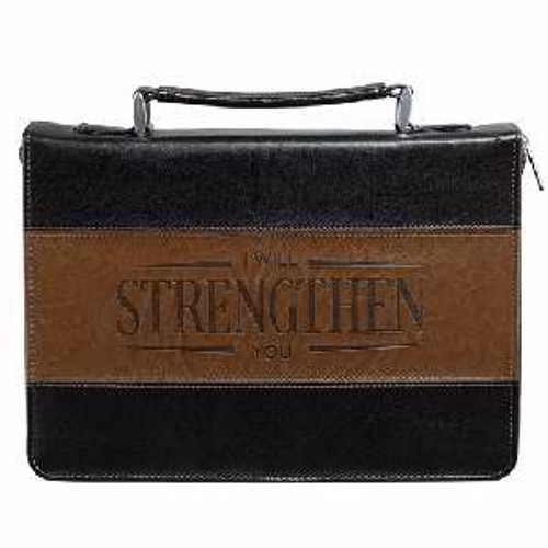 Bible Cover-Classic/Strength-Large-Black/Brown