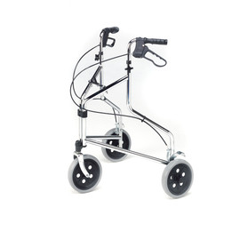 Chrome Tri-Wheeled Walker with Loop Brakes