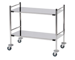 Surgical Trolley with 2 Removable Stainless Steel Flat Shelves (Mirror Polished) 3