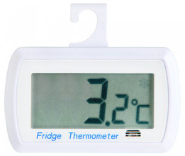 Digital fridge thermometer with safety zone indicator