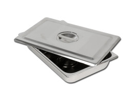 S/S INSTRUMENT TRAY WITH LID - 306 x 196 x 50 mm