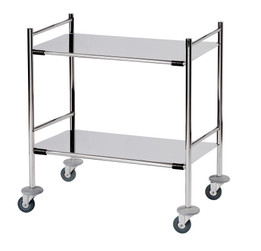 Surgical Trolley with 2 Removable Stainless Steel Flat Shelves (Mirror Polished) 2