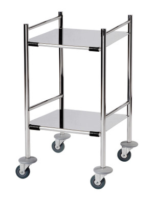 Surgical Trolley with 2 Removable Stainless Steel Flat Shelves (Mirror Polished)