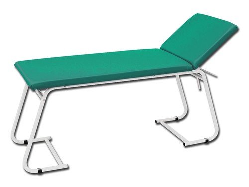 Examination Couch - White Painted - Green Mattress