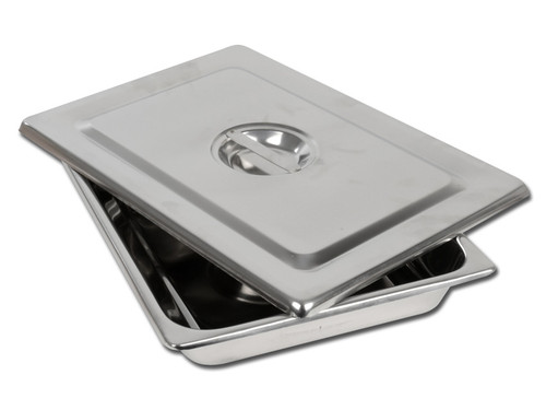 S/S INSTRUMENT TRAY WITH LID - 355 x 254 x 50 mm