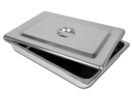 S/S INSTRUMENT TRAY WITH LID - 440 x 320 x 64 mm