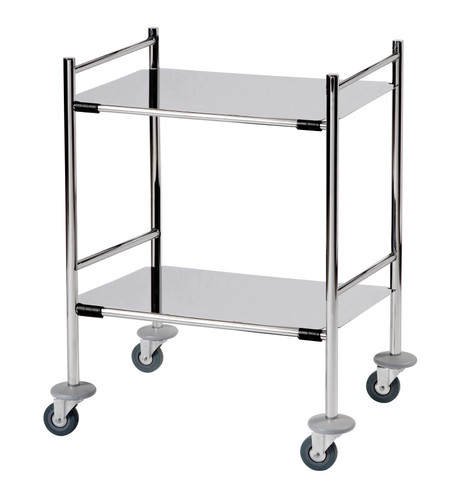 Surgical Trolley with 2 Removable Stainless Steel Flat Shelves (Mirror Polished) 1