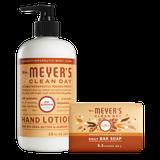 mrs meyers oat blossom bar soap & hand lotion set