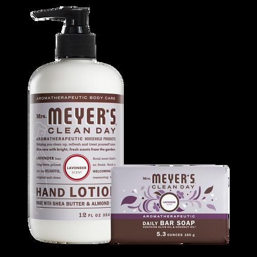 mrs meyers lavender bar soap & hand lotion set