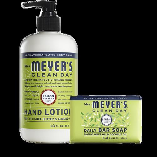 mrs meyers lemon verbena bar soap & hand lotion set