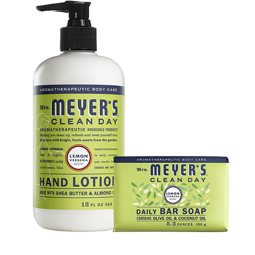 mrs meyers lemon verbena bar soap & hand lotion set
