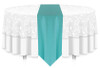 Solid Polyester Table Runner Linen-Tiffany Blue