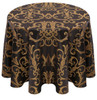 Chopin Damask Tablecloth Linen-Black Gold