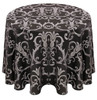 Chopin Damask Tablecloth Linen-Silver Black