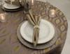 Eclectic Art Deco Jacquard Tablecloth Linen
