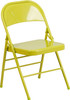 Hercules Colorburst Series-Triple Braced & Double Hinged Metal Folding Chair-Citron