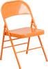 Hercules Colorburst Series-Triple Braced & Double Hinged Metal Folding Chair-Orange