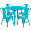 "Indoor/Outdoor Cafe Metal 5 Piece set- 31.5"" Square Table set with 4 Stack Chairs-Crystal Teal"