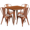 "Indoor/Outdoor Cafe Metal 5 Piece set- 31.5"" Square Table set with 4 Stack Chairs-Copper"