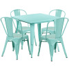 "Indoor/Outdoor Cafe Metal 5 Piece set- 31.5"" Square Table set with 4 Stack Chairs-Mint"