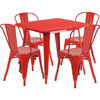 "Indoor/Outdoor Cafe Metal 5 Piece set- 31.5"" Square Table set with 4 Stack Chairs-Red"