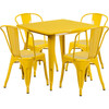 "Indoor/Outdoor Cafe Metal 5 Piece set- 31.5"" Square Table set with 4 Stack Chairs-Yellow"