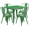 "Indoor/Outdoor Cafe Metal 5 Piece set- 31.5"" Square Table set with 4 Stack Chairs-Green"