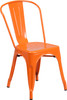 "Indoor/Outdoor Cafe Metal 5 Piece set- 31.5"" Square Table set with 4 Stack Chairs-Orange Chair"