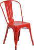 "Indoor/Outdoor Cafe Metal 5 Piece set- 31.5"" Square Table set with 4 Stack Chairs-Red Chair"